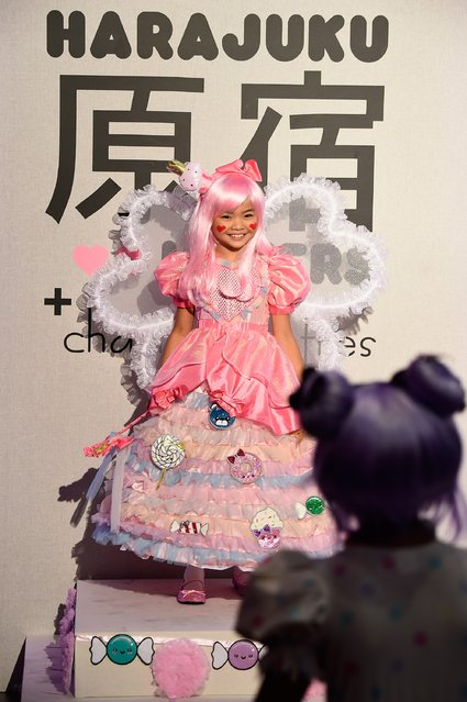 A child poses on the runway during a party hosted by Chasing Fireflies to introduce Gwen Stefani's Harajuku Lovers children's collection at Duff's Cakemix on September 24, 2015 in West Hollywood, California. (Photo by Frazer Harrison/Getty Images for Chasing Fireflies)