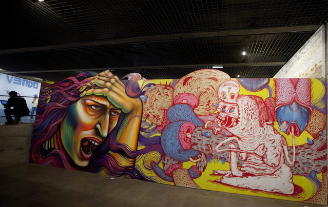 A graffiti creation by Canadian artist Shalak is on display during the second edition of the International Graffiti Fine Art Biennial at the Brazilian Museum of Sculpture, MuBE, in Sao Paulo, Brazil, Tuesday, January 22, 2013.  The event runs from January 22 – February 24 and features work of more than 50 street artists, representing 11 countries. (Photo by Andre Penner/AP Photo)