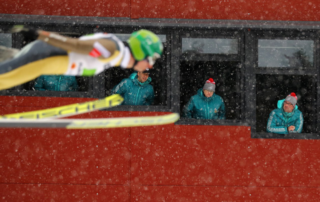 Judges watch Hannu Manninen of Finland in the Men's Nordic Combined Team Ski Jumping during the FIS Nordic Ski World Championships in Lahti, Finland, February, 26, 2017. (Photo by Kai Pfaffenbach/Reuters)