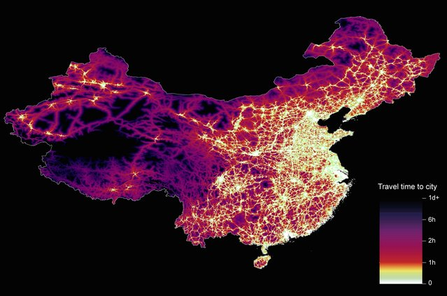 From Britain to China to Mali, new maps showing travel times to the nearest urban centre reveal huge differences between countries. Using Open Street Map and Google, a University of Oxford team have created a visual breakdown that suggests major inequalities when it comes to commuting. Here: China. The dataset used for China was unique as it relied solely on Open Street Map, due to restrictions on accessing Google data. The population is densely concentrated in the east and accessibility is increased, whereas rural provinces in the west remain remote. (Photo by Daniel Weiss/Jennifer Rozier/Malaria Atlas Project/University of Oxford )