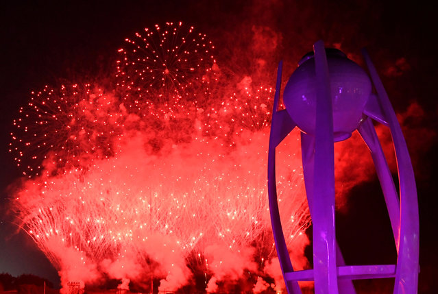 General view of the torch after it is extinguished and fireworks during the closing ceremony of the PyeongChang Winter Olympic Games at the Olympic Stadium in Pyeongchang, South Korea, on February 25, 2018. (Photo by Florian Choblet/Reuters)