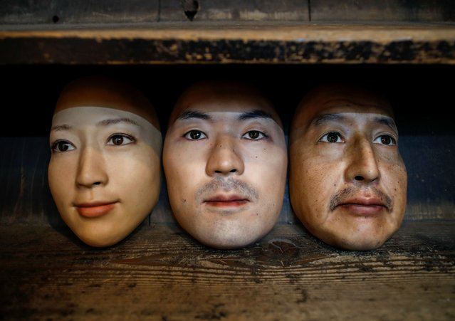 Masks based on real people's faces are diplayed at the Shuhei Okawara's mask shop in Tokyo, Japan on December 16, 2020. (Photo by Issei Kato/Reuters)