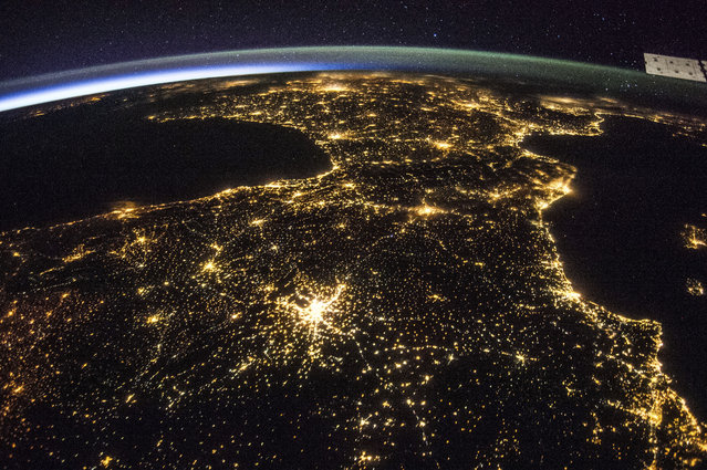 An ISS image of Space and France at night taken on board the International Space Station on July 26, 2014 above France. (Photo by NASA/SPL/Barcroft Media)