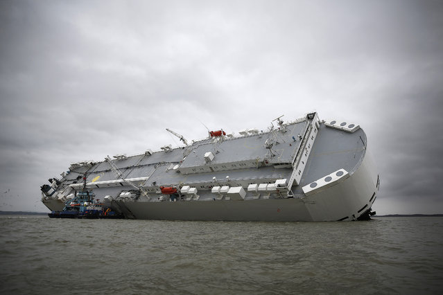 The Hoegh Osaka ro-ro cargo ship, operated by Hoegh Autoliners AS, sits grounded on Bramble Bank in the Solent near Cowes, on the Isle of Wight, U.K., on Monday, January 5, 2015. (Photo by Simon Dawson/Bloomberg)