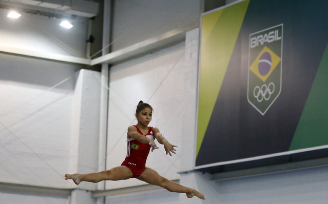 Brazilian gymnast Flavia Saraiva performs during a training session at the new Brazilian Artistic Gymnastics Center in Rio de Janeiro January 16, 2015. (Photo by Sergio Moraes/Reuters)