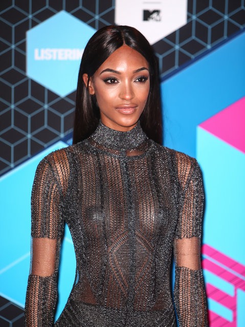 Jourdan Dunn poses for photographers upon arrival at the MTV European Music Awards 2016 in Rotterdam, Netherlands, Sunday, November 6, 2016. (Photo by WENN)