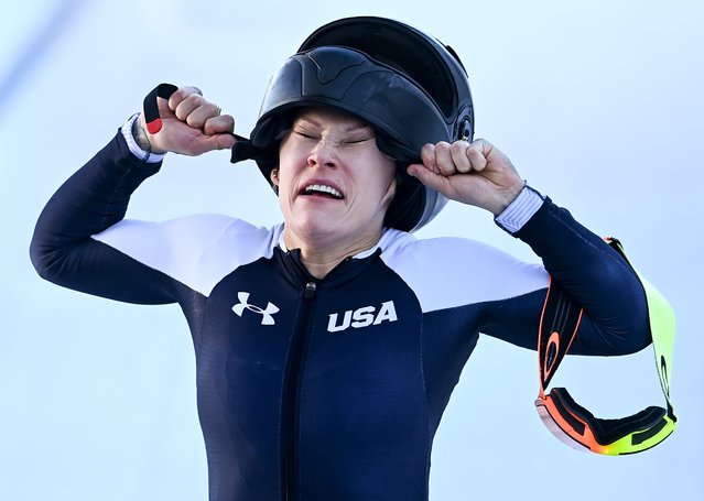 Kaillie Humphries of the USA reacts after winning the gold medal in the women's Monobob competition at the Bobsleigh & Skeleton World Championships in Altenberg, Germany, 14 February 2021. (Photo by Filip Singer/EPA/EFE)