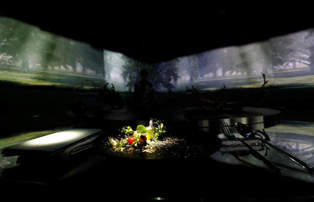 """The projection mapping is cast on table and walls during its media preview at """"TREE BY NAKED, yoyogi park"""" restaurant in Tokyo, Japan on July 19, 2018. This restaurant incorporates virtual reality, projection mapping, and music to enhance diners' enjoyment of their food. (Photo by Kim Kyung-Hoon/Reuters)"""