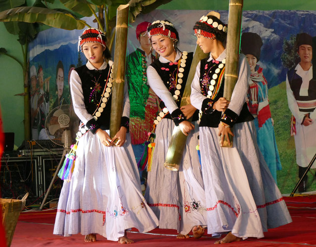 Ethnic Li-Su artists dance during a ceremony to mark their traditional new year at the National Race Village Saturday, February 7, 2015, in Yangon, Myanmar. (Photo by Khin Maung Win/AP Photo)