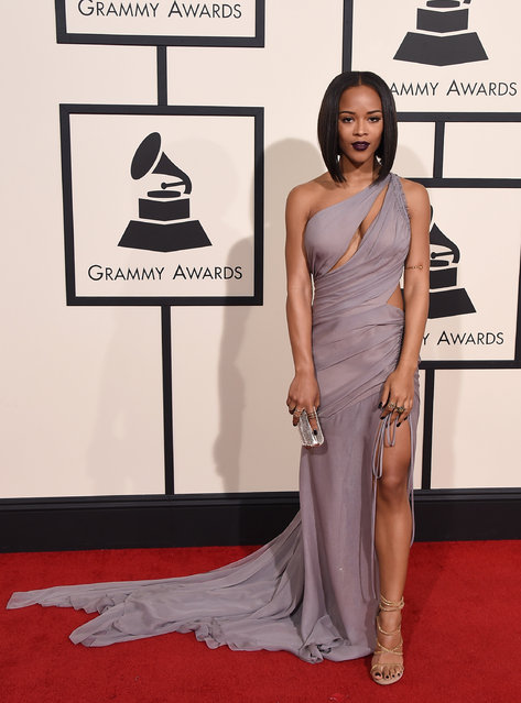 Serayah arrives at the 58th annual Grammy Awards at the Staples Center on Monday, February 15, 2016, in Los Angeles. (Photo by Jordan Strauss/Invision/AP Photo)