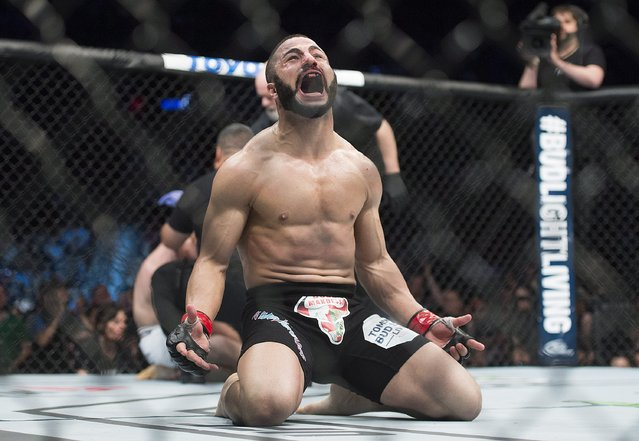 John Makdessi, from Canada, reacts after a win over Shane Campbell, also from Canada, in their UFC 186 mixed martial arts catchweight fight in Montreal, Saturday, April 25, 2015. (Photo by Graham Hughes/The Canadian Press via AP Photo)