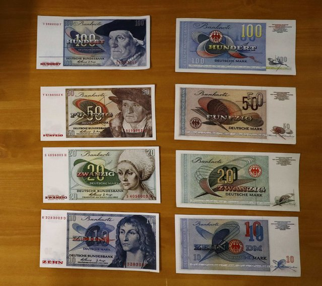 West German emergency issue bank notes are pictured inside a Federal reserve bank (Bundesbank) bunker prior to the bunker's official opening to the public in Cochem, Germany, March 18, 2016. (Photo by Kai Pfaffenbach/Reuters)
