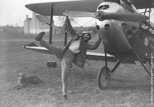 1929:  A young woman taking flying lessons at Brooklands School