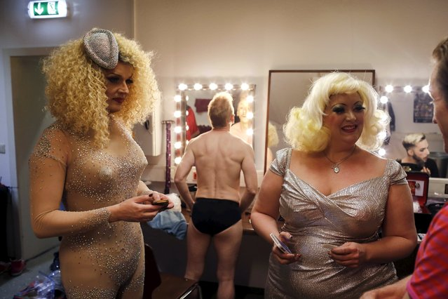 "Boylesque performers prepare before the ""Yodeling Lederhosen Boylesque Gala"" at the Boylesque Festival in Vienna, Austria, May 15, 2015. (Photo by Leonhard Foeger/Reuters)"