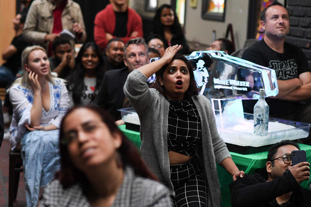 "Fans react as they watch HBO's ""Game of Thrones"" series finale at a viewing party at Brennan's bar in Marina del Rey, California, May 19, 2019. (Photo by Robyn Beck/AFP Photo)"