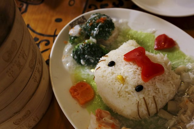 A decorated dish of rice with spinach sauce and egg white is seen at a Hello Kitty-themed Chinese restaurant in Hong Kong, China May 21, 2015. (Photo by Bobby Yip/Reuters)