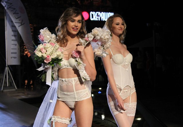 Models display a creation by K-Lynn Lingerie during a fashion show in the Lebanese capital Beirut on April 24, 2016. (Photo by Anwar Amro/AFP Photo)