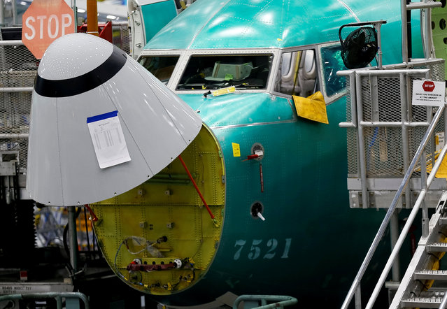 The angle of attack sensor, at bottom center, is seen on a 737 Max aircraft at the Boeing factory in Renton, Washington, U.S., March 27, 2019. (Photo by Lindsey Wasson/Reuters)
