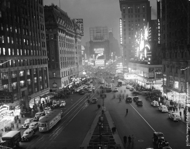 An overhead view of Times Square at night, New York City, New York, 1937