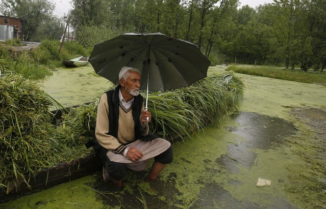 A Kashmiri vendor holds an umbrella during rains as he waits for a customer on Nigeen Lake in Srinagar, the summer capital of Indian Kashmir, 24 May 2016. Kashmir is witnessing a pleasantly cool weather while mercury is surging in the Indian plains. (Photo by Farooq Khan/EPA)
