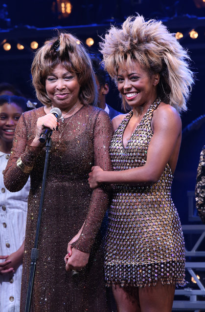 "Tina Turner and Adrienne Warren during the ""Tina – The Tina Turner Musical"" Opening Night Curtain Call at the Lunt-Fontanne Theatre on November 07, 2019 in New York City. (Photo by Walter McBride/WireImage)"