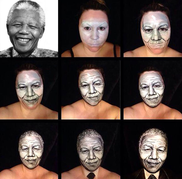Nelson Mandela stages of face paint. 40-year-old London-based makeup artist, Maria Malone-Guerbaa has the ability to transform herself into any celebrity or creature using only her basic makeup essentials. Maria used only make up and face paints to create the illusion of Nelson Mandela, Britain's Queen Elizabeth II, and many other A-list celebrities. (Photo by Maria Malone-Guerbaa/Rex Features USA)