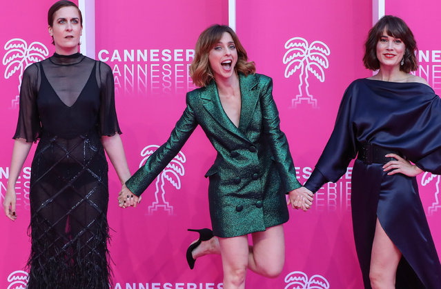 (From L) Spanish actresses Aixa Villagran, Leticia Dolera and Celia Freijeiro pose on the pink carpet during the closing night of the 2019 Cannes International Series festival Canneseries, at the Palais des festival, in Cannes southern France, on April 10, 2019. (Photo by Valéry Hache/AFP Photo)