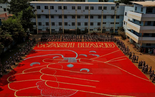 An image formed by 25,000 soap bars is seen during an awareness campaign about coronavirus disease (COVID-19), at a school in Chennai, India, March 14, 2020. (Photo by P. Ravikumar/Reuters)