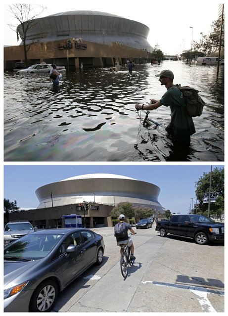 This combination of August 31, 2005 and July 31, 2015 photos shows a man pushing his bicycle through flood waters near the Superdome in New Orleans after Hurricane Katrina left much of the city under water, and a cyclist outside the renamed Mercedes-Benz Superdome a decade later. (Photo by Eric Gay/Gerald Herbert/AP Photo)