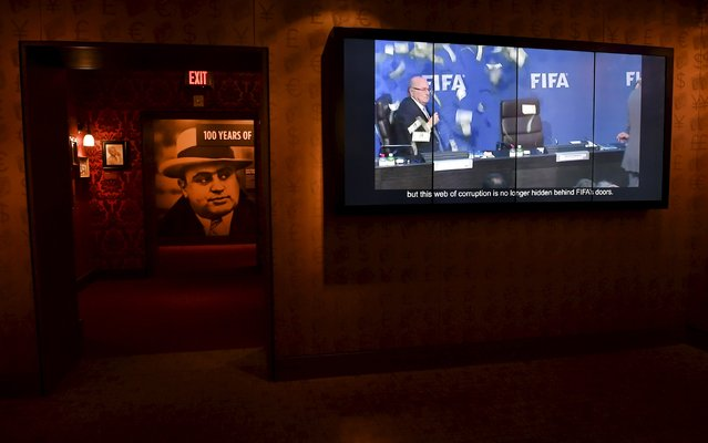 "A video monitor displaying an image of Sepp Blatter is seen at an exhibit ""The «Beautiful Game» Turns Ugly"" at The Mob Museum in Las Vegas, Nevada September 1, 2015. A display on FIFA corruption opens at the museum today. (Photo by David Becker/Reuters)"