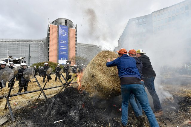 Farmers and dairy farmers from all over Europe take part in a demonstration outside a European Union agricultural ministers' emergency meeting at the EU Council headquarters in Brussels, Belgium September 7, 2015. (Photo by Eric Vidal/Reuters)