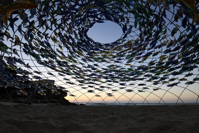 """A sculpture by artist Jane Cowie is displayed during the """"Sculpture by the Sea"""" exhibition near Bondi beach in Sydney on October 19, 2017. """"Fish swimming at the same speed, in the same direction, at the same time, often undertake complex manoeuvres, while moving together as a whole"""". (Photo by Dean Lewins/AAP)"""
