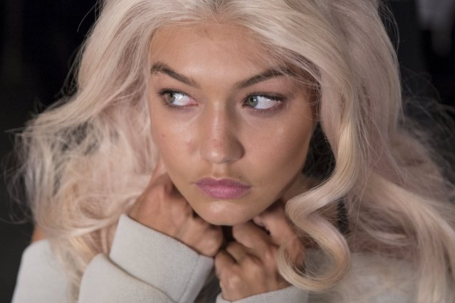 Model Gigi Hadid is seen backstage before the Jeremy Scott Spring/Summer 2016 collection presentation during New York Fashion Week in New York, September 14, 2015. (Photo by Andrew Kelly/Reuters)
