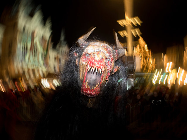 A devil character seen running in the centre of Graz, Austria on December 3, 2017. (Photo by Jana Cavojska/SOPA Images/LightRocket via Getty Images)