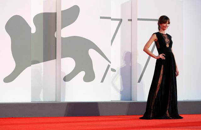 """French model, granddaughter of Jean-Paul Belmondo Annabelle Belmondo walks the red carpet ahead of the movie """"The World To Come"""" at the 77th Venice Film Festival on September 06, 2020 in Venice, Italy. (Photo by Guglielmo Mangiapane/Reuters)"""