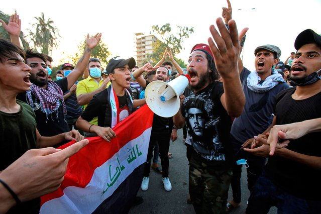 Anti-government protesters gather for a demonstration demanding better public services and against corruption outside the provincial council building, in Basra, Iraq, Friday, August 7, 2020. (Photo by Nabil al-Jurani/AP Photo)