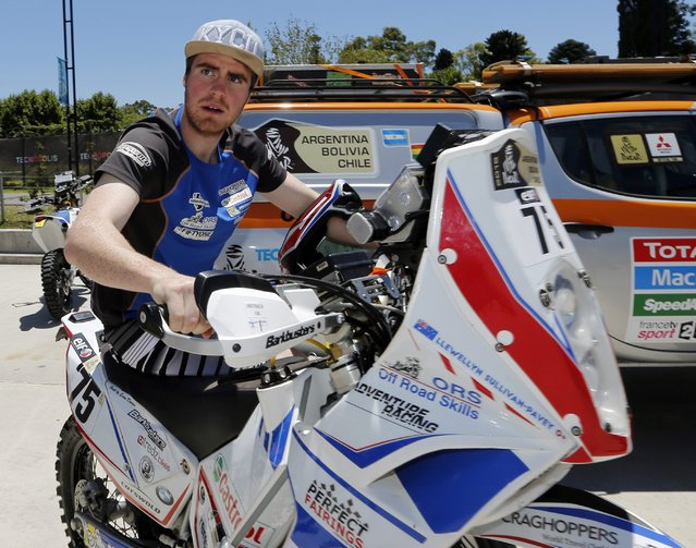 KTM rider Llewellyn Sullivan-Pavey of Australia arrives for technical verification ahead of the Dakar Rally 2015 in Buenos Aires January 2, 2015. (Photo by Enrique Marcarian/Reuters)
