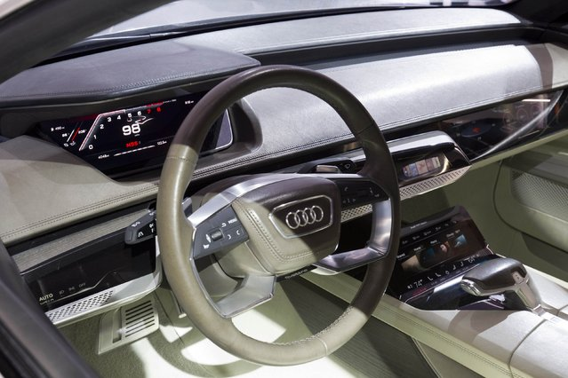 The interior of the Audi Prologue piloted driving concept car is shown after the car was unveiled at the 2015 International Consumer Electronics Show (CES) in Las Vegas, Nevada January 6, 2015. The autonomous driving system uses a laser scanner, several video cameras, radar sensors and ultrasound sensors. (Photo by Steve Marcus/Reuters)