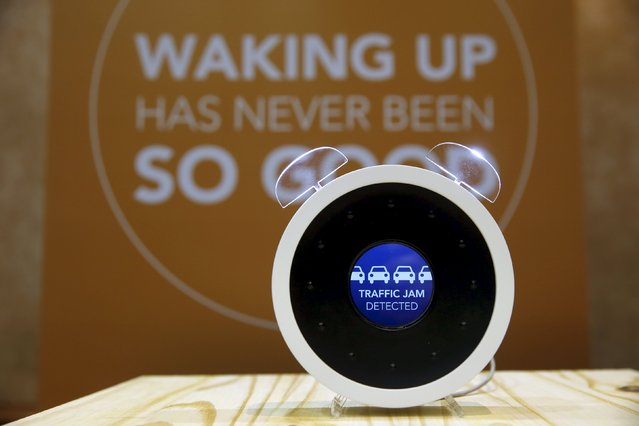 """A Bonjour alarm clock is displayed during """"CES Unveiled,"""" a preview event of the 2016 International CES trade show, in Las Vegas, Nevada January 4, 2016. The voice-controlled, Internet-enabled alarm clock can be programmed to wake you up under a variety of user-set conditions and can alert you if your home security system detects an intruder. The $200 clock from France should be available by Christmas season in 2016, a representative said. (Photo by Steve Marcus/Reuters)"""