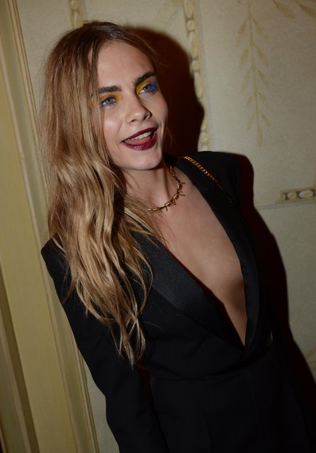 """Cara Delevingne at the """"Mademoiselle C"""" cocktail party held at Pavillon Ledoyen in Paris, France, October 01, 2013. (Photo by INFphoto.com)"""