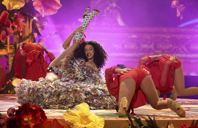 """Cardi B performs """"I Like It"""" at the American Music Awards on Tuesday, October 9, 2018, at the Microsoft Theater in Los Angeles. (Photo by Matt Sayles/Invision/AP Photo)"""