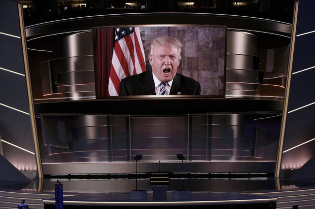 Donald Trump speaks live via satellite from Trump Tower in New York City during the second session at the Republican National Convention in Cleveland, Ohio, July 19, 2016. (Photo by Mike Segar/Reuters)