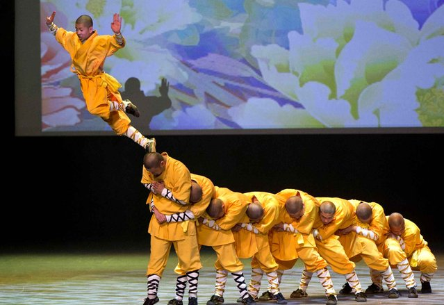 "Members of Chinese Shaolin Temple Warrior Monks perform martial arts during the ""Cultures of China, Festival of Spring"" Gala in Toronto, Canada, on February 27, 2016. (Photo by Zou Zheng/Xinhua/Sipa USA)"