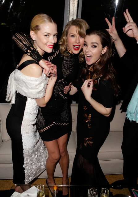 (L-R) Actress Jaime King, singer Taylor Swift, and actress Hailee Steinfeld attend The Weinstein Company & Netflix's 2014 Golden Globes After Party presented by Bombardier, FIJI Water, Lexus, Laura Mercier, Marie Claire and Yucaipa Films at The Beverly Hilton Hotel on January 12, 2014 in Beverly Hills, California. (Photo by Jeff Vespa/Getty Images for The Weinstein Company)