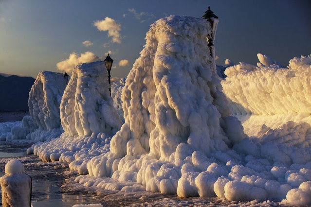 An area of Croatian seaside covered in solid layers of ice, which was up to several feet thick in places, and looked like whipped cream. (Photo by Marko Korosec/Solent News & Photo Agency)