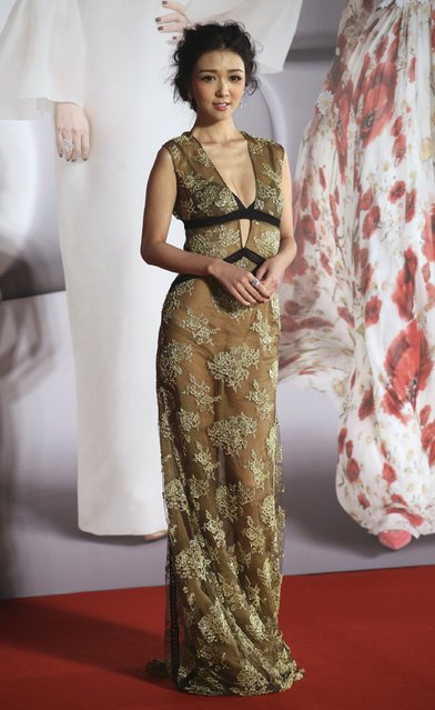 Hong Kong actress Fiona Sit poses on the red carpet at the Hong Kong Film Awards in Hong Kong, China April 3, 2016. (Photo by Reuters/Stringer)