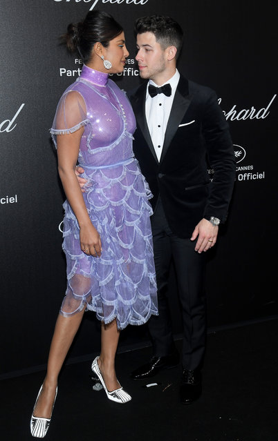 Priyanka Chopra and Nick Jonas attend the Chopard Party during the 72nd annual Cannes Film Festival on May 17, 2019 in Cannes, France. (Photo by Stephane Cardinale – Corbis/Corbis via Getty Images)