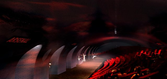 This computer image provided in March 2014 by Laisne Architectes shows an abandoned Paris subway station turned into a theater, part of conservative candidate for Paris Mayor Nathalie Kosciusko-Morizet's, known as NKM, plan to reimagine the city. Paris has 10 abandoned metro stations, mostly unseen as the trains hurtle through their darkened tunnels. NKM has a futuristic plan to transform these stations into public spaces like a swimming pool, performance hall or restaurant. (Photo by AP Photo/Oxo Archiract; Nicolas Laisne Architectes)