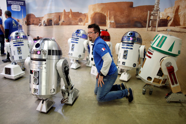 Nicolas, a member of the R2 Builders Club, checks his own replica R2 robot from the Star Wars universe on display at the Paris Comics Expo at the Parc Floral in Paris, France, April 15, 2016. (Photo by Charles Platiau/Reuters)
