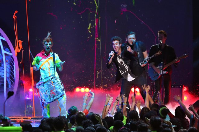 American Authors performs on stage at the 27th annual Kids' Choice Awards at the Galen Center on Saturday, March 29, 2014, in Los Angeles. (Photo by Matt Sayles/Invision/AP Photo)